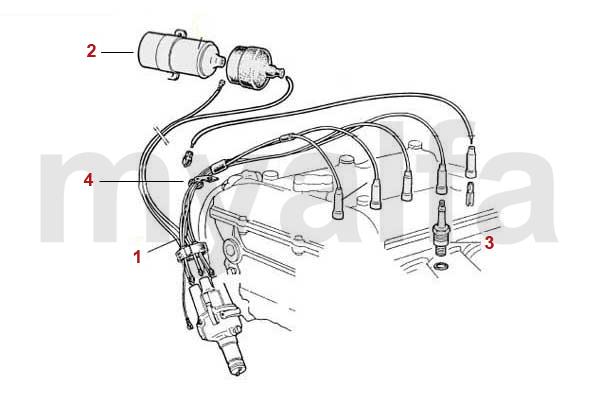 alfa romeo spider  105  115  leads  spark plugs