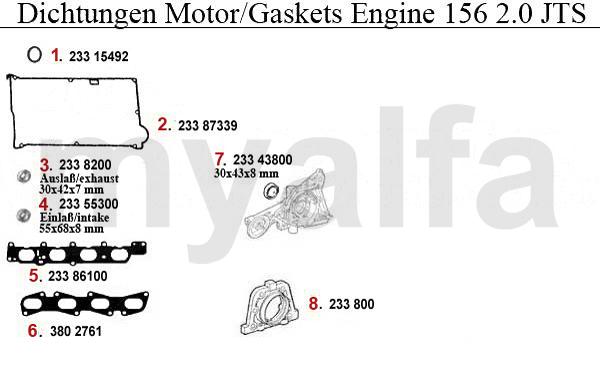 Alfa Romeo Alfa 156 Engine Gaskets 2 0 Jts Gaskets Engine