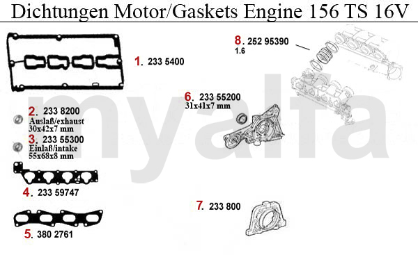 alfa romeo alfa romeo 156 engine gaskets ts 16v gaskets engine