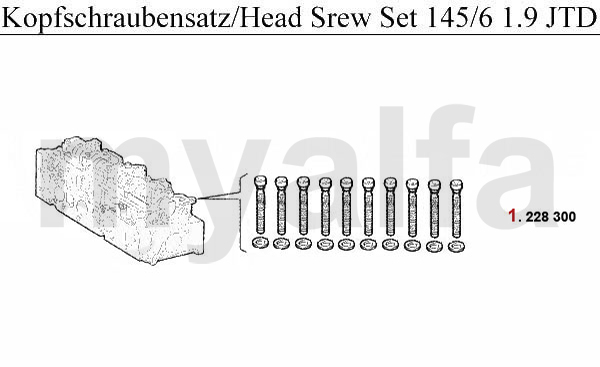 HEAD SCREW SET 1.9 JTD