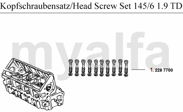HEAD SCREW SET 1.9 TD