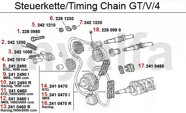 alfa romeo gt  v  6  116  valve gear timing chain gtv  4
