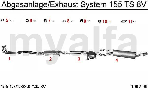 alfa romeo 155 exhaust  muffler  silencer  manifold