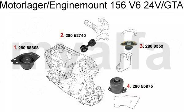 alfa romeo 156 enginemount 2 5  3 2 v6 24v  gta