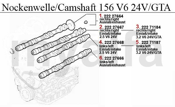 Alfa Romeo Alfa 156 Valve Gear 2 5  3 2 V6 24v  Gta Camshaft