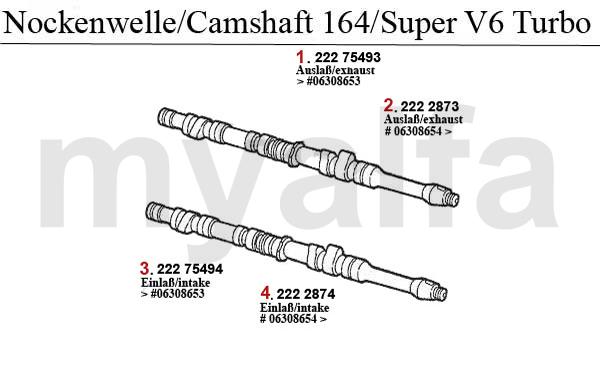 alfa romeo 164  super valve gear 2 0 v6 turbo camshaft