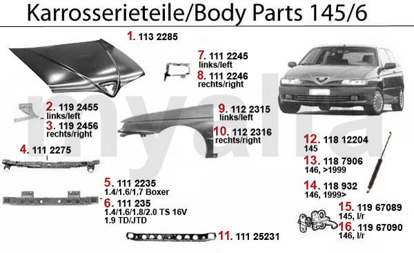 Alfa Romeo BODYPANELS - Alfa romeo body panels