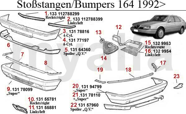 alfa romeo 164  super bumper  grille  panel 1992 u0026gt