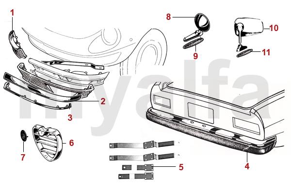 Alfa Romeo SPIDER CHROME PARTS BUMBERS - Alfa romeo spider parts