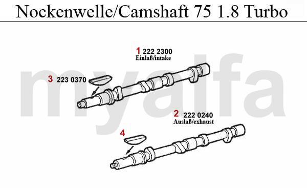 alfa romeo 75 valve gear 1 8 turbo camshaft