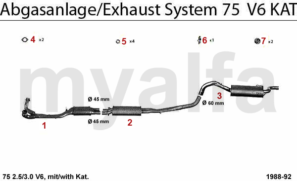 alfa romeo alfa romeo 75 exhaust system 2 5  3 0 v6 kat