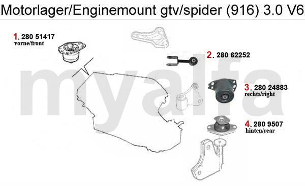 alfa romeo alfa romeo gtv  spider  916  engine mount 3 0 v6