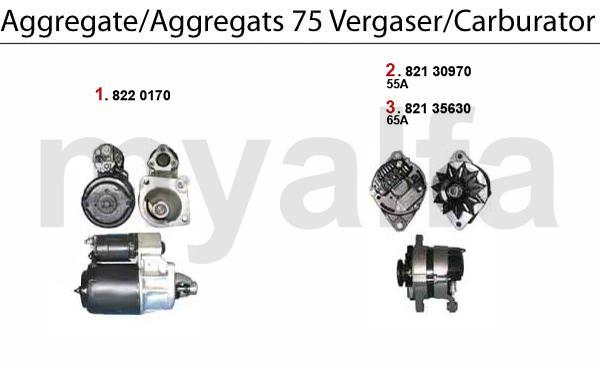 STARTER/ALTERNATOR- 75 Carb.