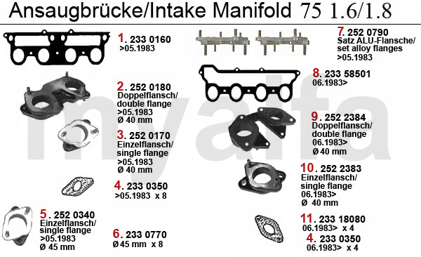 INTAKE MANIFOLD 75 1.6/1.8 CARB.