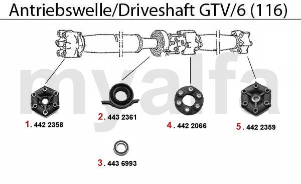 alfa romeo gt  v  6  116  driveshaft driveshaft gtv  6