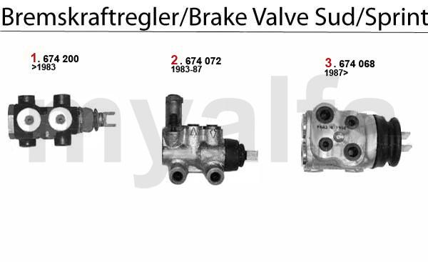 alfa romeo alfa sud  sprint brake valve