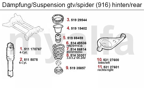 alfa romeo gtv  spider  916  strut rear