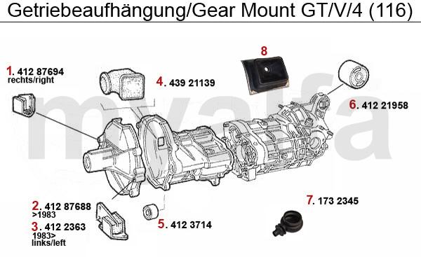 alfa romeo gt  v  6  116  gearbox gear mount gt  v  4