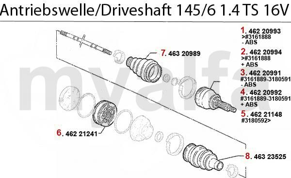 DRIVESHAFT 1.4 TS 16V 1996>