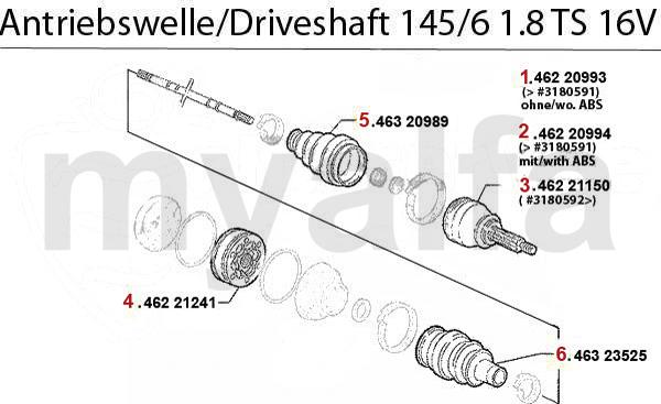 DRIVESHAFT 1.8 TS 16V 1996>