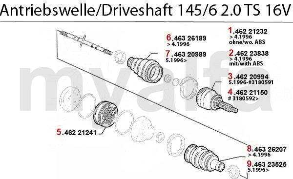 Antriebswelle 2.0 TS 16V Bj. 95>