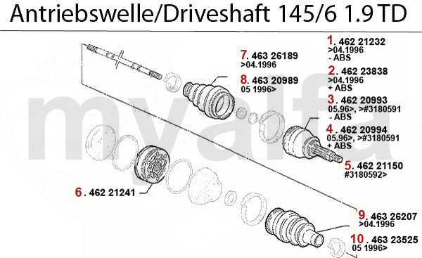 DRIVESHAFT 1.9 TD