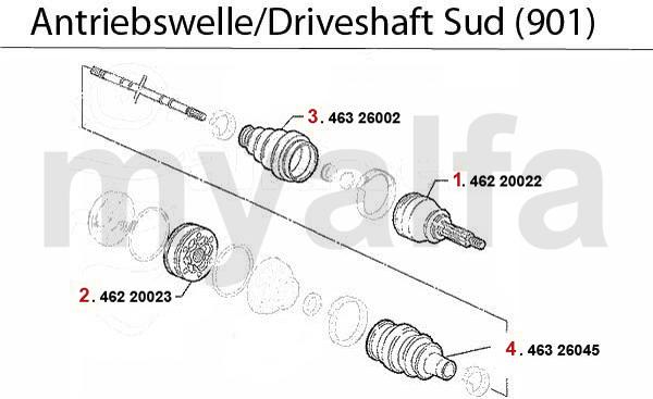 DRIVESHAFT Sud (901) 1.2/1.3/1.5/TI