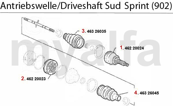 DRIVESHAFT Sud/Sprint (902) 1.3/1.5/1.7/