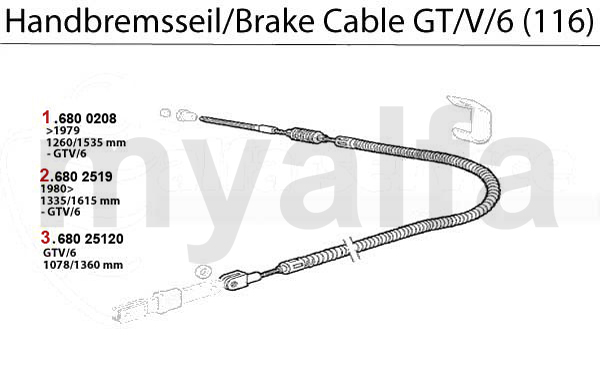 alfa romeo gt  v  6  116  brake cable