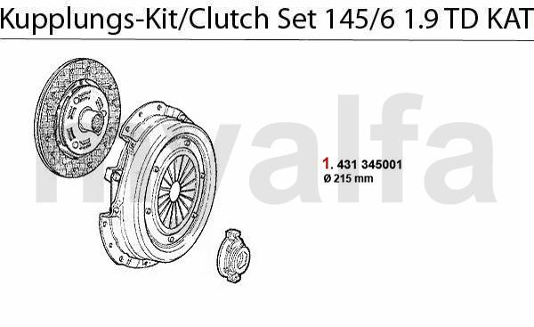 alfa romeo 145  6 clutch clutch set 1 9 td cat