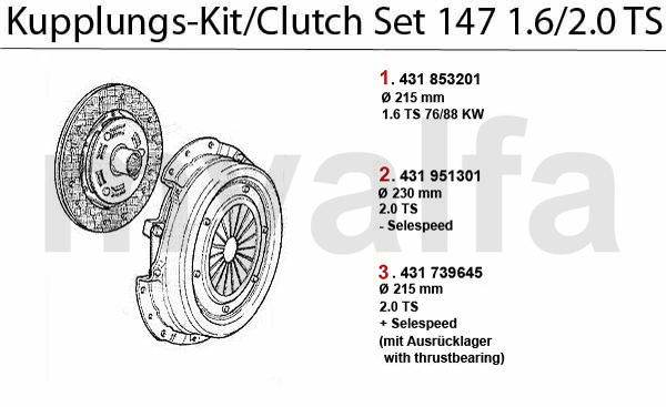 CLUTCH SET 1.6/2.0 TS