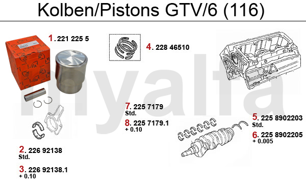 PISTONS/BEARINGS GTV/6