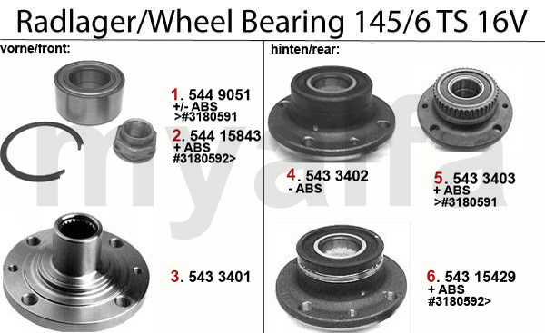 WHEEL BEARING TS 16V