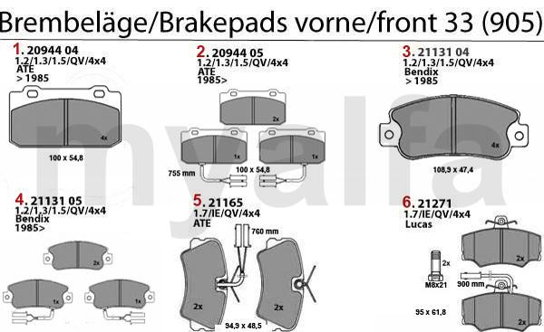 BRAKE PADS 905 FRONT