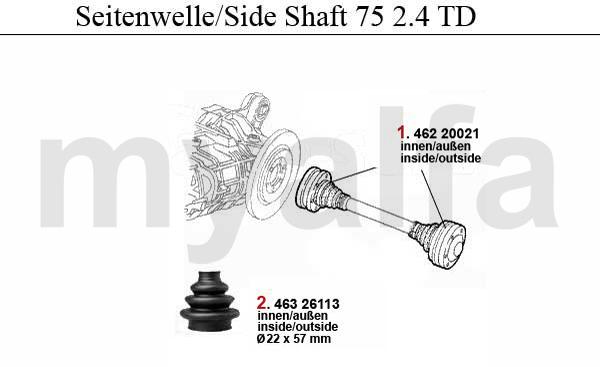 SIDE SHAFT 2.4 TD