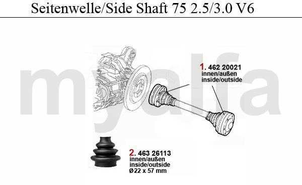 SIDE SHAFT 2.5/3.0 V6