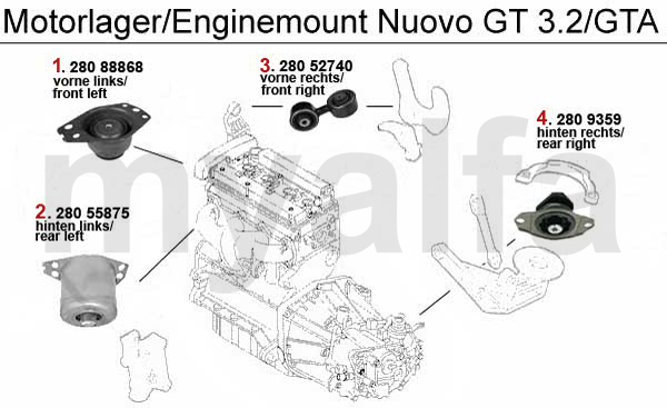 alfa romeo nuovo gt engine mount engine  engine parts  u0026 alfa romeo piston mount 3 2 v6 24v  gta