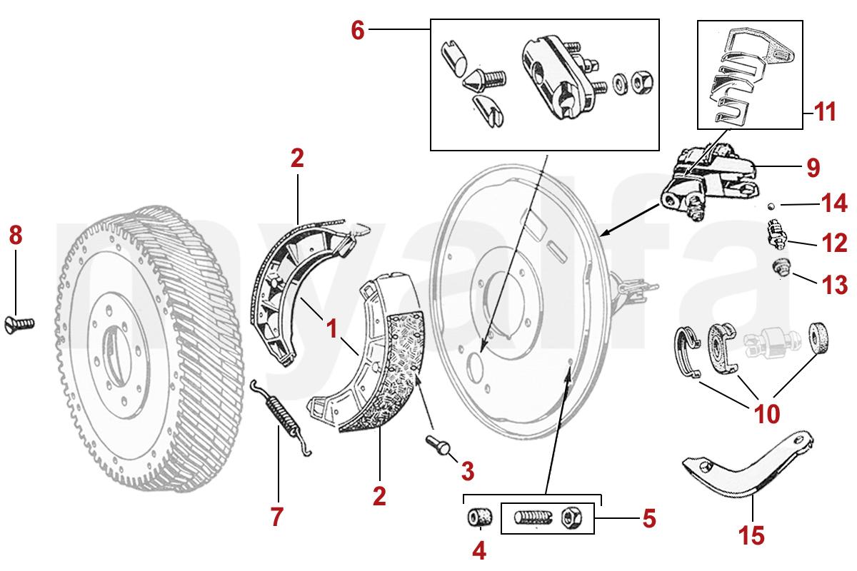 alfa romeo alfa giulietta/giulia 750/101 brakes rear wide drum alfa  giulietta/giulia 750/101 brakes rear wide drum  myalfa